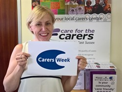 carer holding carers week placard