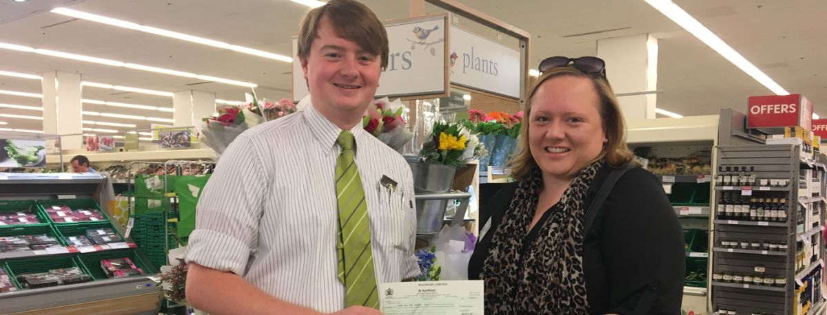 Jennifer Twist, chief executive officer at Care for the Carers, was presented with the cheque by section manager personnel Matt Leppard at Waitrose in Old Town, Eastbourne