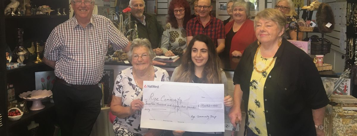 photo of members of Rye community presenting £7000 Cheque to young carers